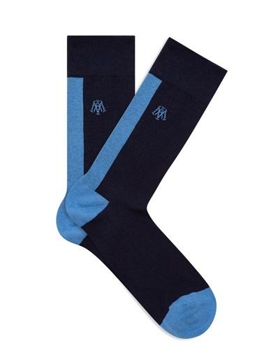 Mavi Blok Renkli  Soket Çorap Lacivert